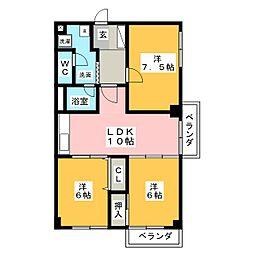 松栄レックスマンション[6階]の間取り