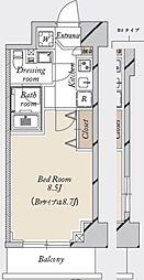 都営新宿線 森下駅 徒歩19分の賃貸マンション 3階1Kの間取り