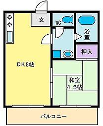 コーポ乙黒[1階]の間取り