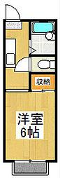 京都府京都市山科区東野八反畑町の賃貸アパートの間取り