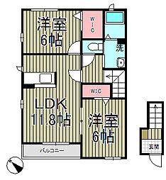 TSUBAKI A棟[201号室]の間取り