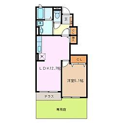 ラフィーク B棟[1階]の間取り