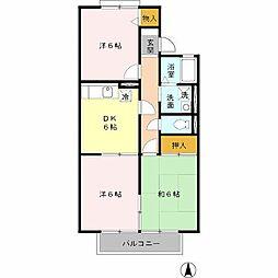 フレンディ北花田[2階]の間取り