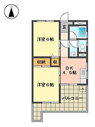 愛知県名古屋市名東区藤森1丁目の賃貸マンションの間取り