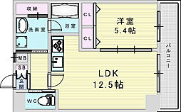 Osaka Metro御堂筋線 新大阪駅 徒歩8分の賃貸マンション 9階1LDKの間取り
