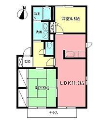 神奈川県平塚市桜ケ丘の賃貸アパートの間取り