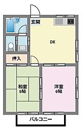神奈川県横浜市鶴見区諏訪坂の賃貸アパートの間取り