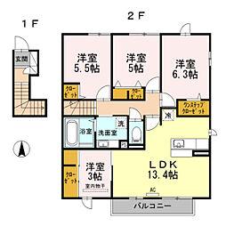 福岡県福岡市南区寺塚1丁目の賃貸アパートの間取り