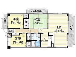 阪急千里線 南千里駅 徒歩21分の賃貸マンション 2階3LDKの間取り