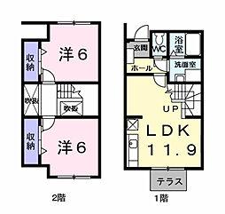 南海高野線 御幸辻駅 徒歩7分の賃貸アパート 1階2LDKの間取り