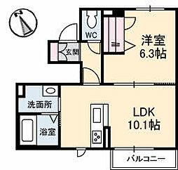 高松琴平電気鉄道琴平線 三条駅 徒歩5分の賃貸アパート 1階1LDKの間取り