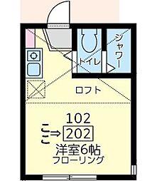 神奈川県川崎市川崎区四谷上町の賃貸アパートの間取り