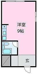 下門マンション 2階ワンルームの間取り