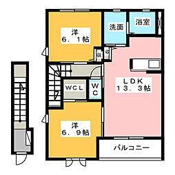 レフィナードB[2階]の間取り
