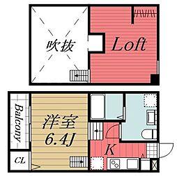 千葉県千葉市中央区稲荷町1丁目の賃貸アパートの間取り