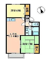 広島県福山市曙町4の賃貸アパートの間取り