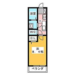 リブリ・フェリスゲート 2階1Kの間取り