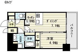 プレサンス阿波座ステーションフロント[13階]の間取り