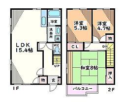 東京都昭島市中神町1丁目の賃貸アパートの間取り