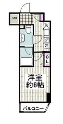 京急本線 日ノ出町駅 徒歩2分の賃貸マンション 6階1Kの間取り