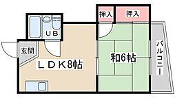 シャトー東梅田 4階1LDKの間取り
