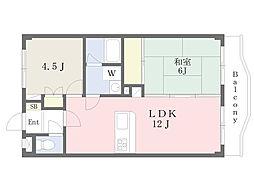 JR武蔵野線 東川口駅 徒歩12分の賃貸マンション 3階2LDKの間取り