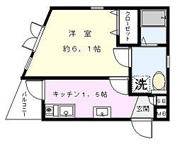クオリア横浜大口[302号室]の間取り