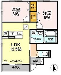 リオン湘南 1階2LDKの間取り