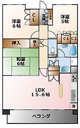 甲子園六石町ハイツ[4階]の間取り