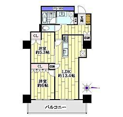 阿波座ライズタワーズ フラッグ46 (OMPタワー)[24階]の間取り
