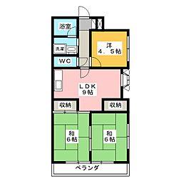 鉄村マンション S棟[2階]の間取り