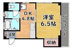 阪神本線 大石駅 徒歩10分の賃貸マンション 3階1DKの間取り
