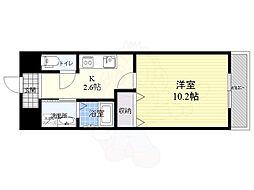 仮称西大寺南マンション 6階1Kの間取り