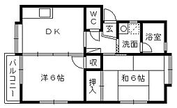 シャンボール大蒲B[2階]の間取り