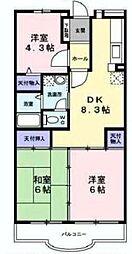 サンシャイン小沢B[4階]の間取り
