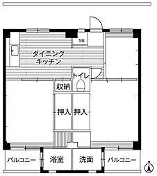 神奈川県川崎市宮前区初山2丁目の賃貸マンションの間取り