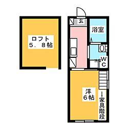 マ・ピエス三田 1階1Kの間取り