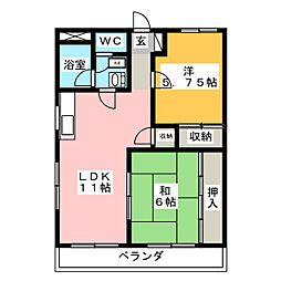 サワータウン花園[4階]の間取り
