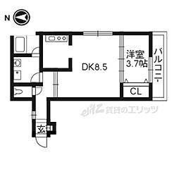 京都地下鉄東西線 椥辻駅 徒歩7分の賃貸マンション 2階1DKの間取り