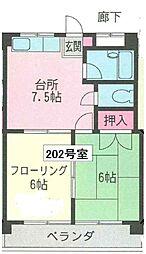 ジョイ武庫之荘[202号室]の間取り
