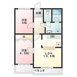 浅井ハイツ[1階]の間取り