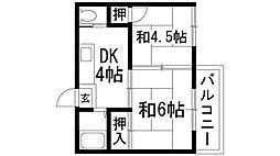 兵庫県伊丹市中野西2丁目の賃貸アパートの間取り