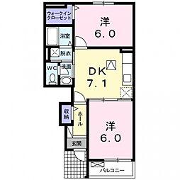埼玉県熊谷市御正新田の賃貸アパートの間取り