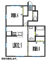 兵庫県明石市大久保町谷八木の賃貸アパートの間取り