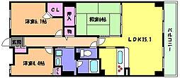 兵庫県神戸市東灘区住吉宮町4丁目の賃貸マンションの間取り