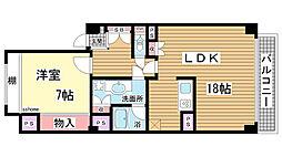 兵庫県神戸市東灘区岡本4丁目の賃貸マンションの間取り