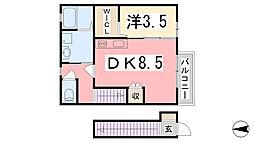 兵庫県姫路市広畑区吾妻町1丁目の賃貸アパートの間取り