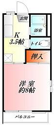 埼玉県熊谷市見晴町の賃貸アパートの間取り