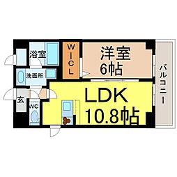 愛知県名古屋市中区松原1丁目の賃貸マンションの間取り