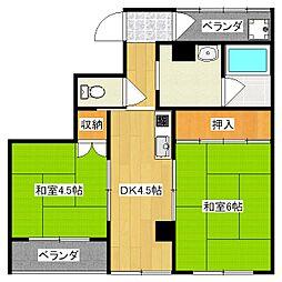 六角シティハイツ[2階]の間取り